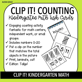 CLIP IT! Kindergarten Math Task Cards & Math Centers - Counting with Tallys!