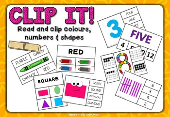 CLIP IT! Read and clip colours, numbers & shapes