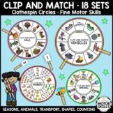 CLIP and MATCH - 18 Clothespin Circles - Seasonal, Animal,
