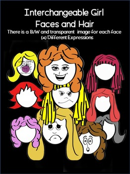 CLIPART (4) Expressions with many options for cute {HAIRSTYLES}