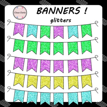 CLIPART: 5 banners - Glitters !