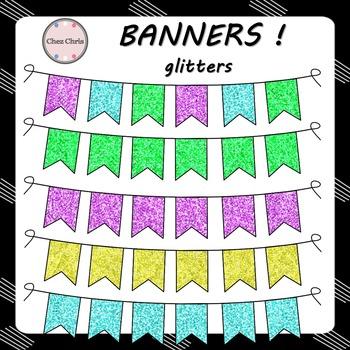 Clip Art -  5 Banners - Glitters !