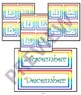 CLIPART AND POWERPOINT RAINBOW PATTERNED CALENDAR CUT OUTS