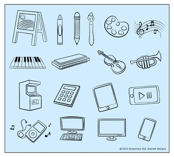 CLIPART: Arts & Technology - 300dpi PNGs in 3 formats!