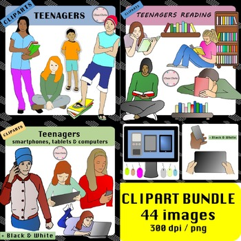 Clipart BUNDLE - Tweens, Teenagers Reading, Teenagers with Devices
