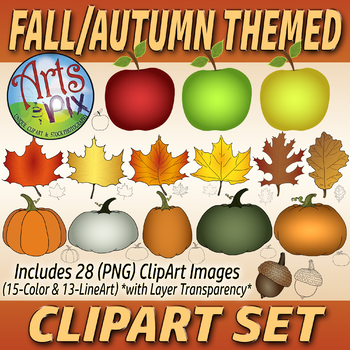 """CLIPART - """"Fall Autumn"""" Clipart set #2 Bundle - Apples, Leaves & Pumpkins - PNG"""