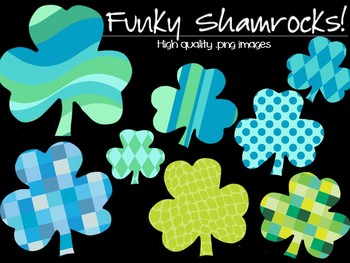 CLIPART - Funky Shamrocks! - Personal and Commercial use
