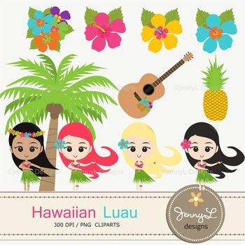 CLIPART: Hawaiian Luau Party Clipart, Hula Girls, Coconut, Hibiscus, Summer