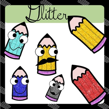 CLIPART: Pencils - classic , funny eyes & glittery