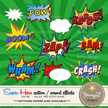Superhero Sound Effects Clipart