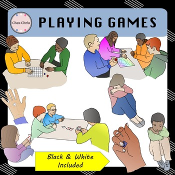 CLIPART: Teenagers playing board games, dice and cards