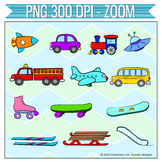 CLIPART: Zoom! 300dpi PNGs of planes, trains, cars and mor
