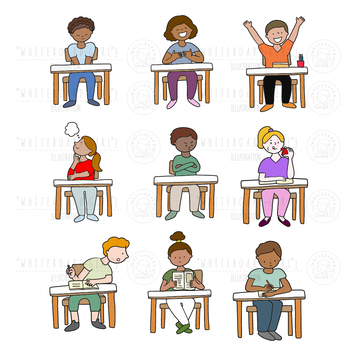 CLIPART x24 Students in classroom