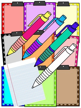 CLIPBOARD AND PENS CLIPART * COLOR AND BLACK AND WHITE