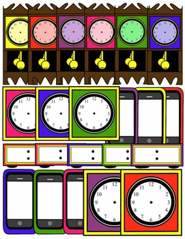 CLOCK CLIP ART * COLOR AND BLACK AND WHITE