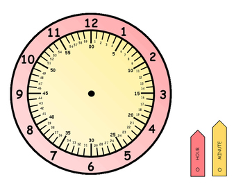 CLOCK- Color Coded Minutes and Hours
