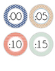 CLOCK NUMBERS with Fractions & Bonus Direction Signs - Muted Color Palette
