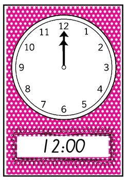 CLOCKS Teaching time to the hour posters or flashcards