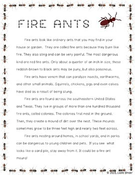 Close Read-Informational Text: Fire Ants
