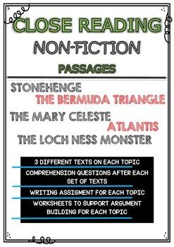 CLOSE READING - NON-FICTION PASSAGES