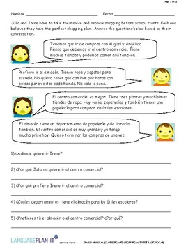 CLOTHING AND SHOPPING ACTIVITIES, VOCAB (SPANISH)