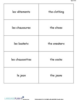 CLOTHING AND SHOPPING FLASHCARDS (FRENCH)