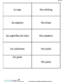CLOTHING AND SHOPPING FLASHCARDS (SPANISH)