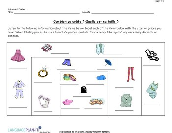 CLOTHING AND SHOPPING UNIT REVIEW (FRENCH)