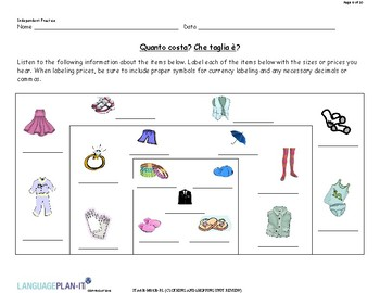 CLOTHING AND SHOPPING UNIT REVIEW (ITALIAN)