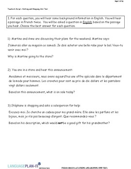 CLOTHING AND SHOPPING UNIT TEST (FRENCH)