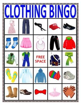 VOCABULARY BINGO: CLOTHING- Speech Therapy