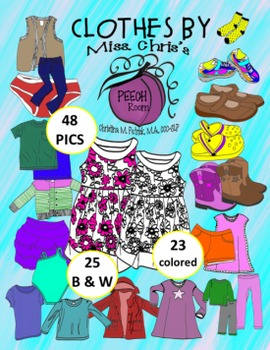 CLOTHING CLIPART {Color & BW} 48 pics total CUTE~FUN~USEFUL