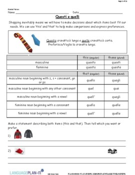 CLOTHING, DEMONSTRATIVE ADJECTIVES REVIEW (ITALIAN)