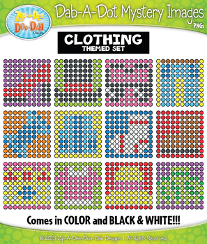 CLOTHING Dab-A-Dot Mystery Images Clipart {Zip-A-Dee-Doo-Dah Designs}