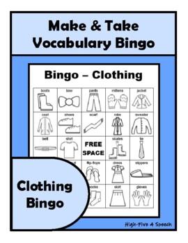 CLOTHING Vocabulary BINGO Make & Take, SPEECH THERAPY