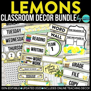 CLOUDS & SUN - classroom design bundle (grey and yellow theme)