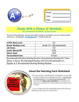 CLOUDY WITH A CHANCE OF MEATBALLS VOCABULARY AND COMPREHENSION