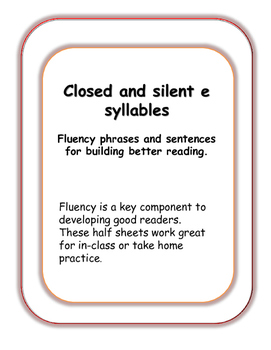 CLOVER syllables~ Closed to silent-e phrases for fluency