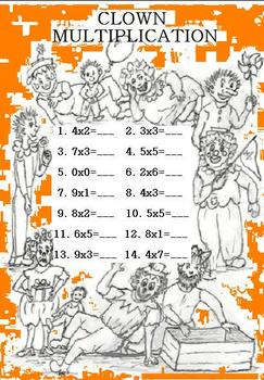 """CLOWN MULTIPLICATION"" (0-6s FACTS) FUN HANDOUT + COLOR PAGE! Grs.3-5"