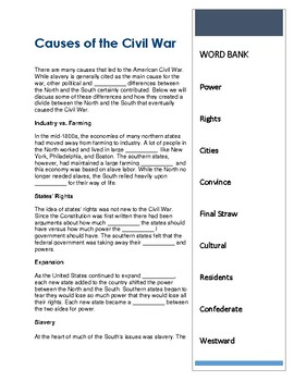 CLOZE Reading ~ Causes of the Civil War