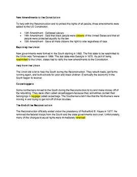 CLOZE Reading - Civil War Reconstruction