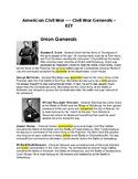 CLOZE Reading Passage ~  American Civil War Generals