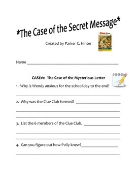 CLUE: Case of the Secret Message Comprehension Question Packet