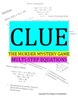 CLUE: the Murder Mystery Game multi-step equations algebra 1