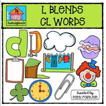 L Blends CL words {P4 Clips Trioriginals Digital Clip Art}