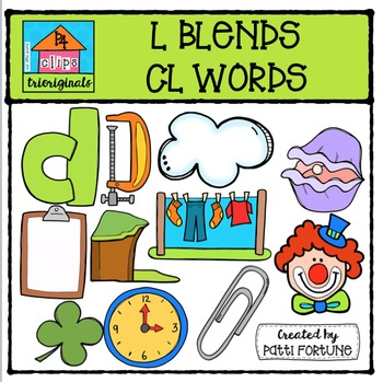 L Blends CL words {P4 Clips Trioriginals Digital Clip Art}