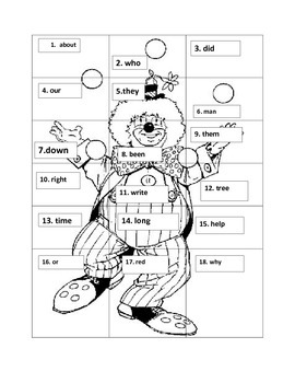 CLown Sight Word Puzzle