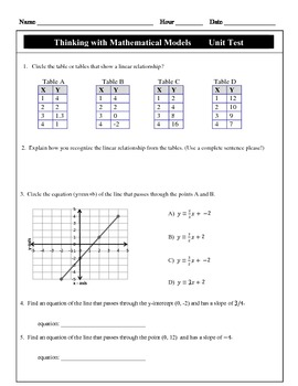 Mathematical modeling teaching resources teachers pay teachers cmp thinking with mathematical models unit test modified unit test fandeluxe Gallery