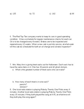 CMP3 6th Grade Chapter One Math Test: Prime Time
