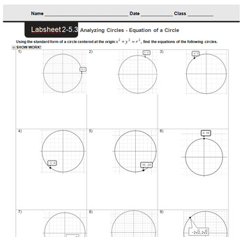 CMP3 - 8th Grade - Unit 2 Inv. 5.3 - Analyzing Circles - Equation of a Circle